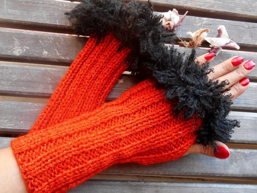 Wedding - Scarlet  Gloves, Crochet Gloves, Handmade Gloves, Red Knitted Glove, Fingerless Glove, Arm Warmers, Warm Gloves, Knit Fingerless, Gift Ideas