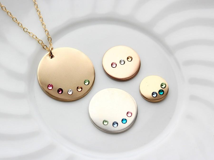 Disc Necklace With Birthstones - Personalized Disk Necklace For Mom ...