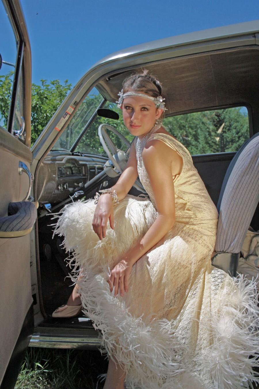 Wedding - Vintage Wedding Gown 1920s inspired Roaring 20s Flapper Dress