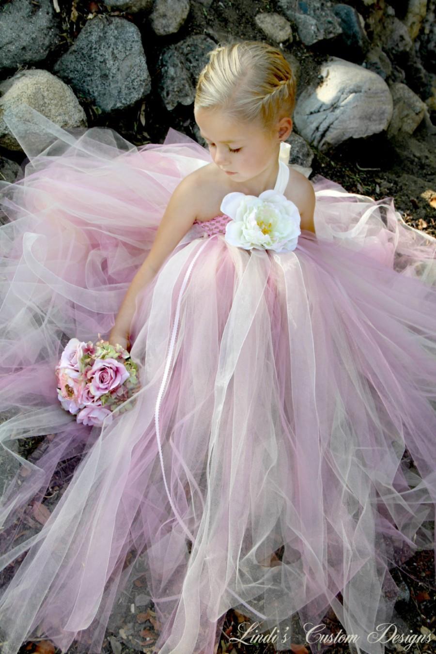 زفاف - Wedding, Bridal, Flower Girl Rose Pink and Champagne Tulle Tutu Dress for Weddings, Blush, Pageants, Special Occasion Photography