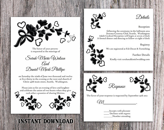 Свадьба - DIY Lace Wedding Invitation Template Set Editable Word File Download Printable Rustic Wedding Invitation Vintage Floral Black Invitation