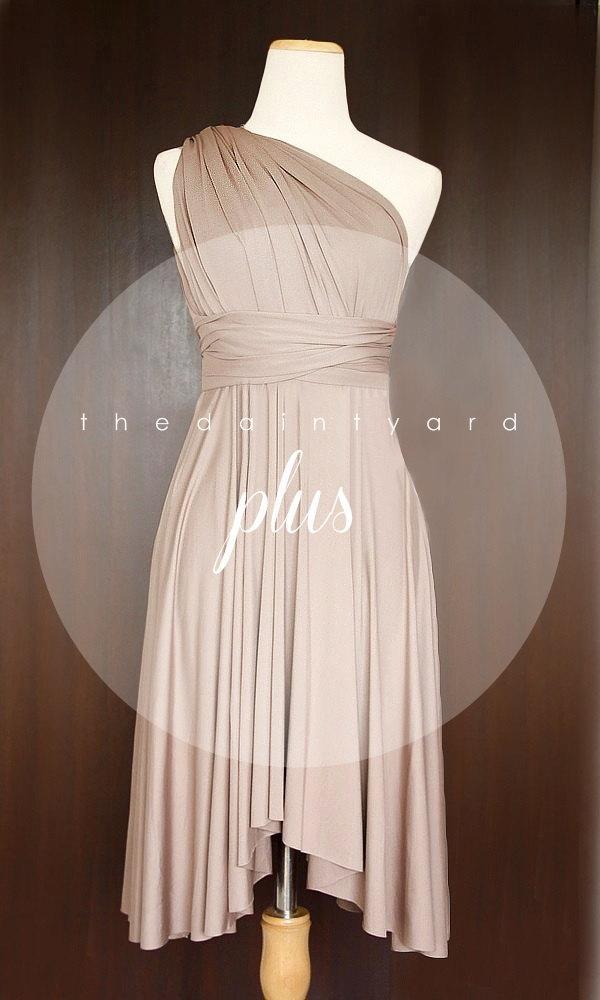 زفاف - Plus Size Light Taupe Bridesmaid Dress Convertible Dress Infinity Dress Multiway Dress Wrap Dress Prom Dress Maid of Honor Dress Wedding