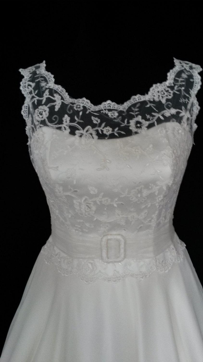 1950 S Style Tea Length Wedding Dress Lace Bodice With Open Back
