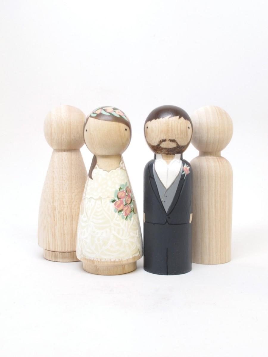 "Свадьба - 4 Peg Doll Wedding Cake Toppers, size 3.5"" // Fair Trade Wooden Dolls Wedding Decor Cake Toppers Peg Dolls"