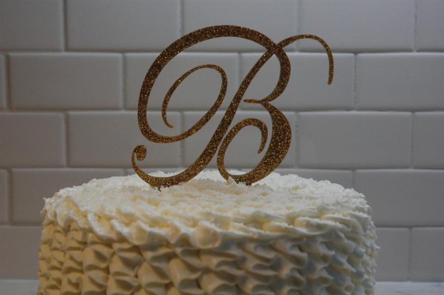 Wedding - Monogram Initial Cake Topper - Personalized Initial Cake Topper - A B C D E F G H I J K L M N O P Q R S T U V W X Y Z