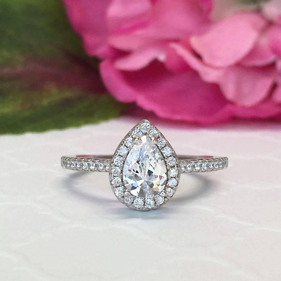 New! 1 Ctw Pear Halo Engagement Ring, Classic Halo Ring, Man Made ...