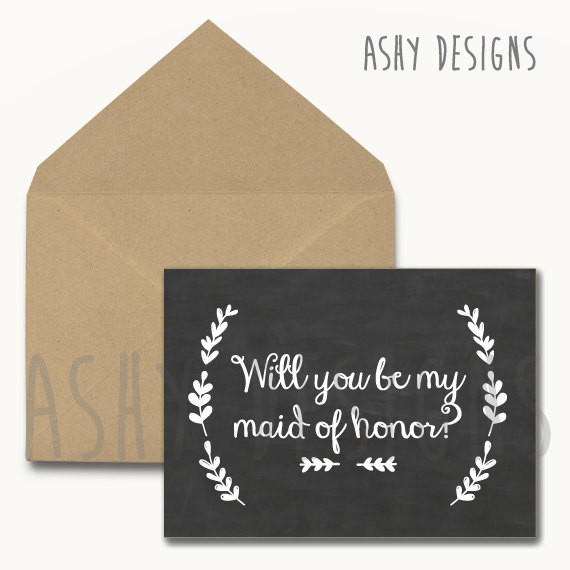 Свадьба - Will You Be My MAID OF HONOR? - Bridal Party Card for Bridesmaid/MoH - Wedding Chalkboard Sign - Cute Black White Modern Printable - CCM01