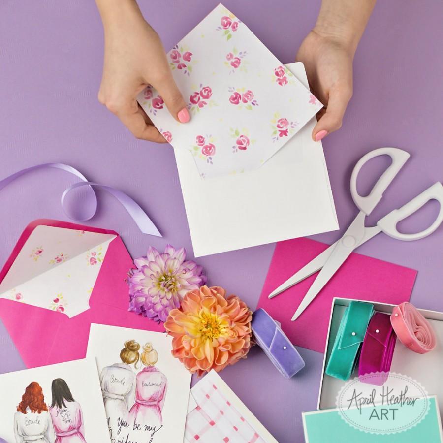 زفاف - Envelope Liners-Stationery PDF Printable, Bridesmaid card watercolor envelope liner, gingham, floral, stripes