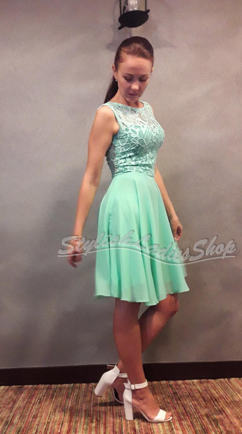 Mint dress bridesmaid short lace and chiffon dress short wedding mint dress bridesmaid short lace and chiffon dress short wedding dress bridesmaid mint lace dress red bridesmaid dress cocktail dress ombrellifo Images
