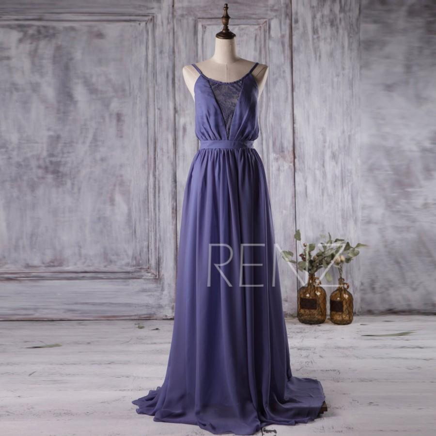 Mariage - 2016 Dark Blue Bridesmaid dress, Lace neck Wedding dress, Spaghetti Strap A line Formal dress, Open Back Short Prom dress knee length(L015B)