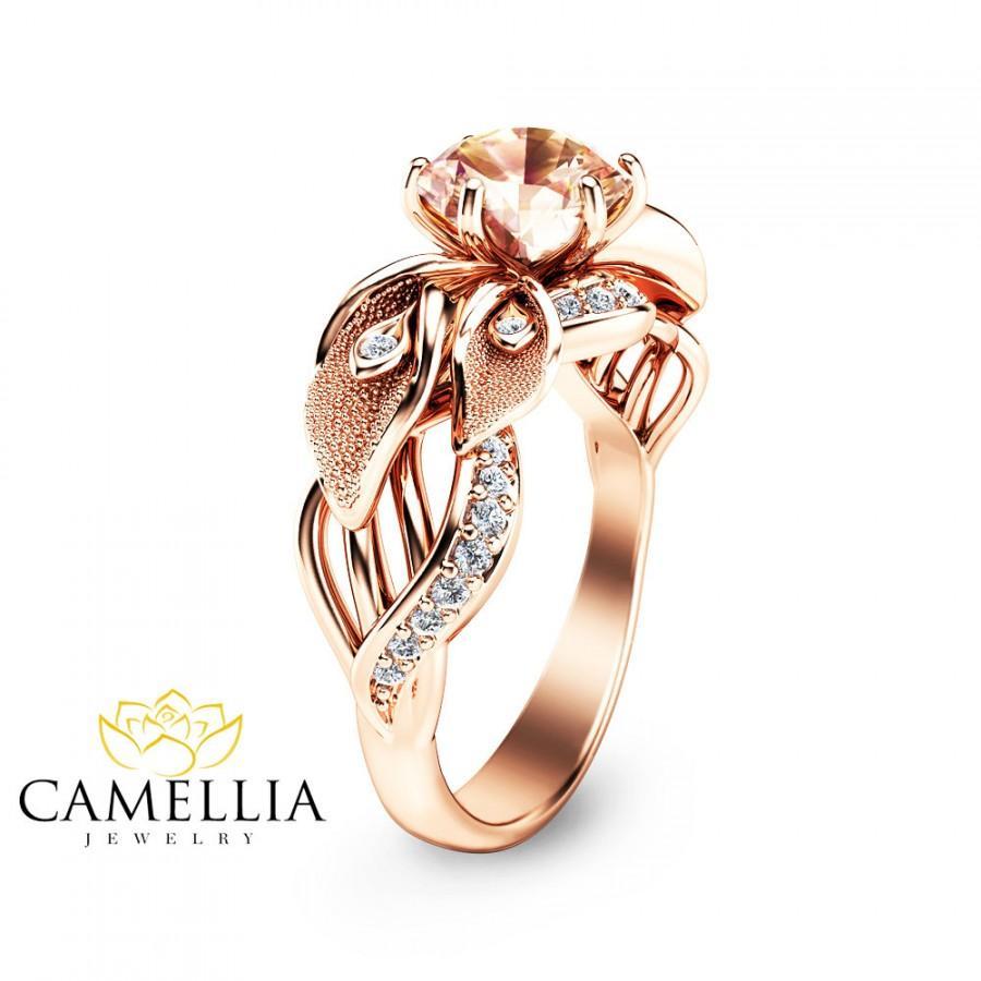 زفاف - 14K Rose Gold Morganite Engagement Ring Calla Lily Design Morganite Ring Unique Flower Ring Nature Inspired Engagement Ring