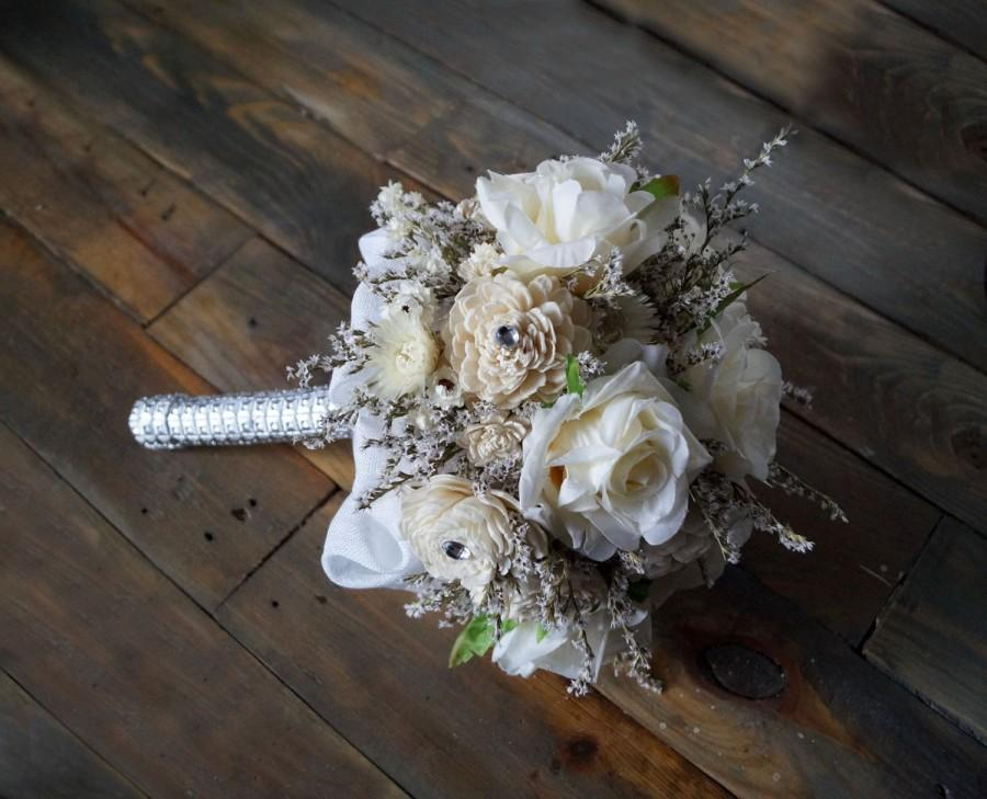 Wedding - Bridal Bouquet, Artificial Flowers, Sola Flowers, Dried Flowers, Glamour Wedding, Romantic Weddings, Ecru Roses, Hollywood Chic Vintage Day