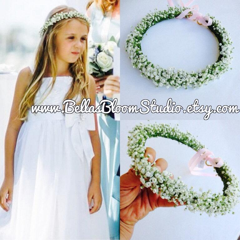 Mariage - White Flower Crown Wedding  Flower Crown Girl  Flower Crown Toddler Flower girl crown Pearl flower crown wreath  First communion crown etsy