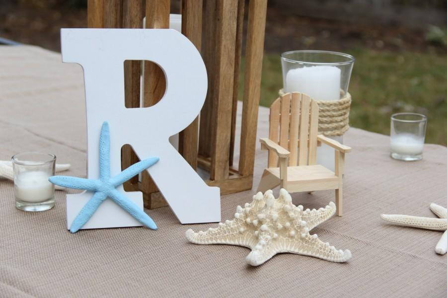 Свадьба - ANY LETTER & COLOR! Monogram, Wedding, Beach House Decor, Starfish, Centerpiece, Sweetheart Table