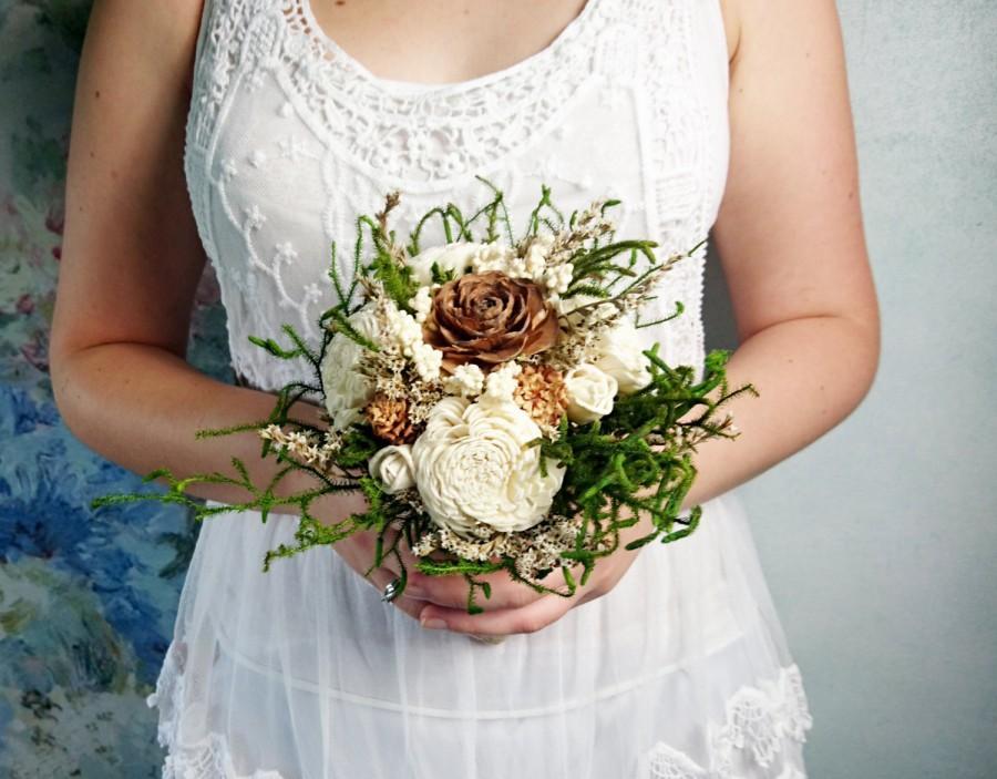 Свадьба - Small cream green brown rustic wedding BOUQUET Ivory Flowers, preserved cypress, Burlap Handle, Flower girl, Bridesmaids, custom small toss