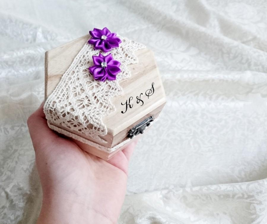 Свадьба - Wedding rings box, wedding pillow rustic cotton lace satin flowers shabby chic brown cream lace sola flower rings box customised