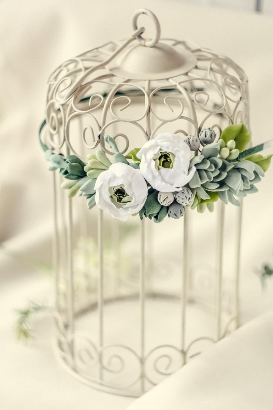 Mariage - BF-25% Succulents head crown Rustic Flower Winter Wedding wreath Bohemian Greenery  Bridal head piece Wedding headpiece succulent jewelry