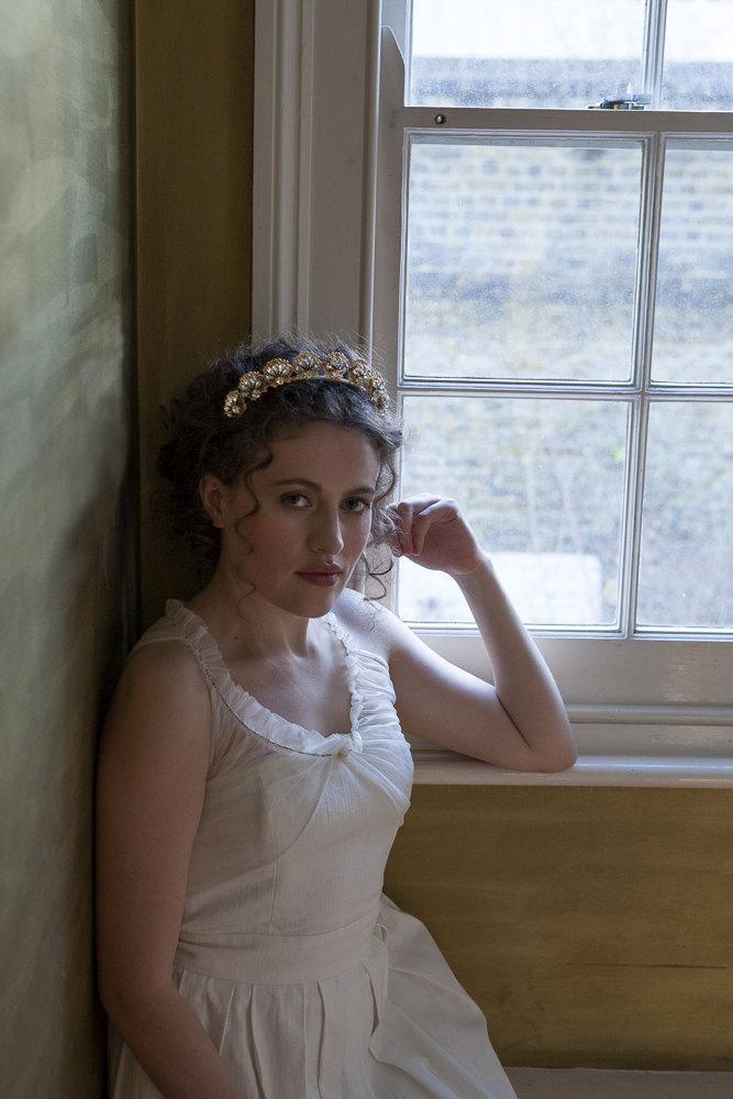 Mariage - 1930s wedding headpiece - Antique style Tiara - Gold headpiece -1940s wedding Headpiece - Agnes Hart UK
