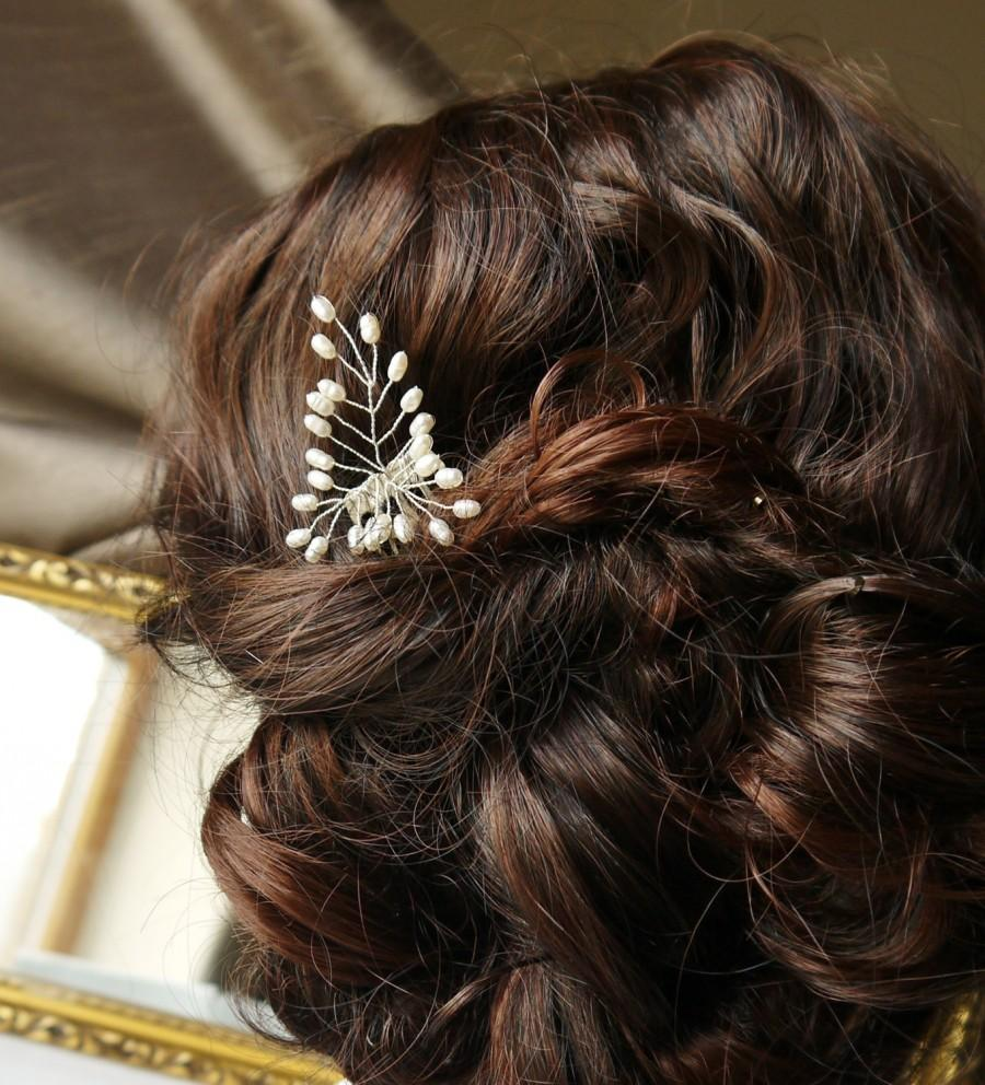 Mariage - pearl hair comb - fern leaves,  freshwater ivory rice pearl mini silver hair comb pin for wedding or prom