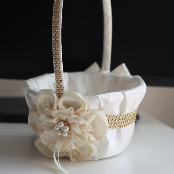Mariage - Ivory Gold flower girl basket   ring bearer  Ivory wedding flower basket   wedding ring pillow set  ivory gold pillow basket set