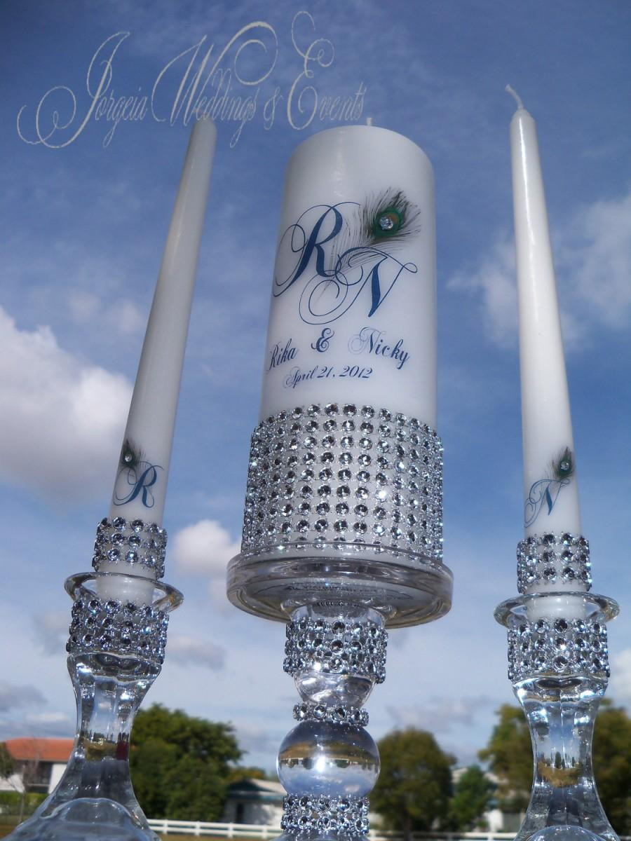 Свадьба - Bling Peacock Unity Candle and Holder set