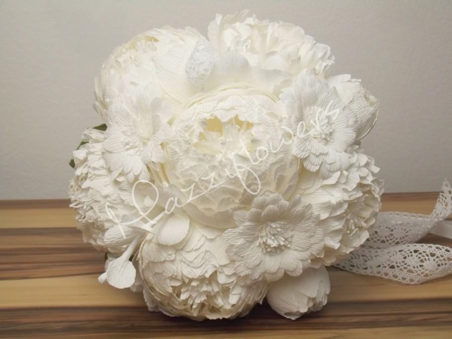 Mariage - Bridal bouquet,wedding bouquet,paper flowers bouquet,paper flower peony,peonies bouquet,bridal flower,bouquet paper flower.