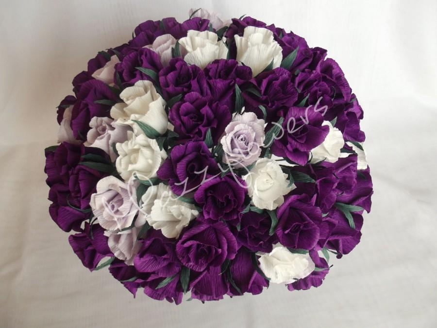 Mariage - Wedding flowers,bridal flower,paper flower,roses purple,rose white,wedding bouquet, bridal bouquet,wedding decor,bridal decor,
