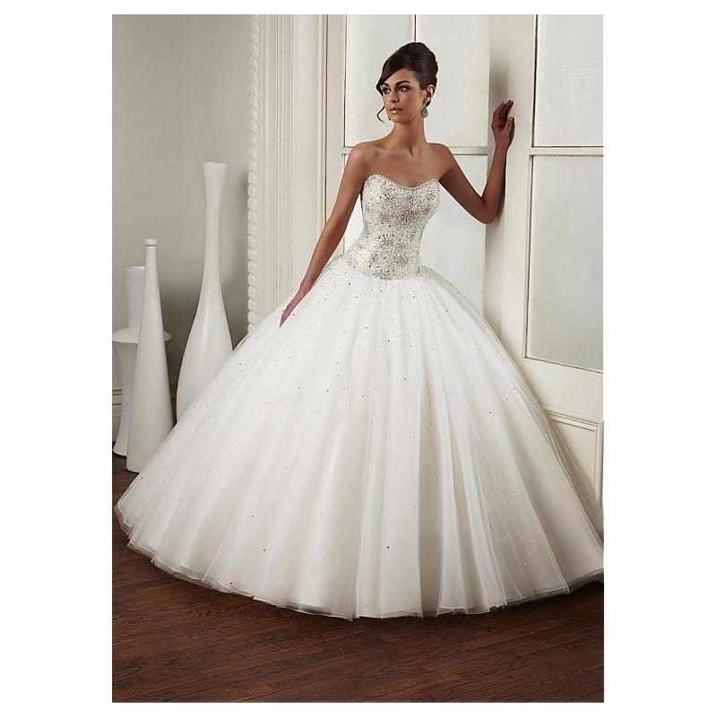 Wedding - Gorgeous Tulle Sweetheart Neckline Dropped Waistline Ball Gown Wedding Dress With Beadings & Rhinestones - overpinks.com