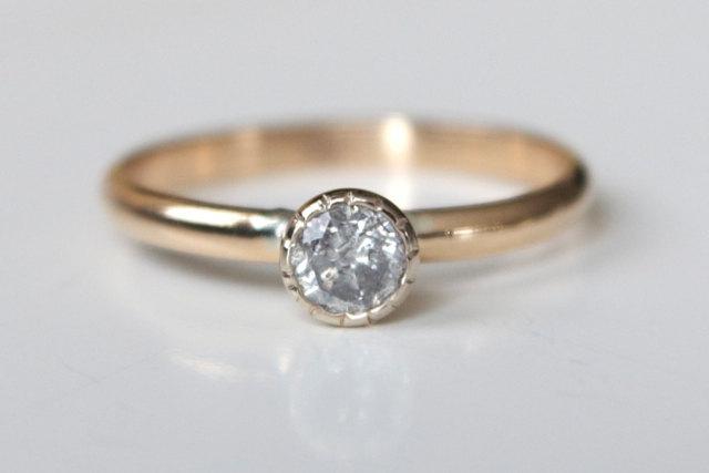 زفاف - Diamond Engagement Ring - Recycled 14k White and Yellow Gold - Beaded Tapered Bezel - Modern Engagement Ring - Mixed Gold Ring - Mixed Metal