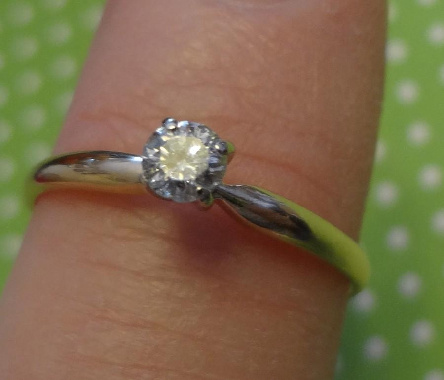 Wedding - 14k Gold Ring Diamond Solitaire Engagement Ring Wedding Band Bride Groom Promise Eternity