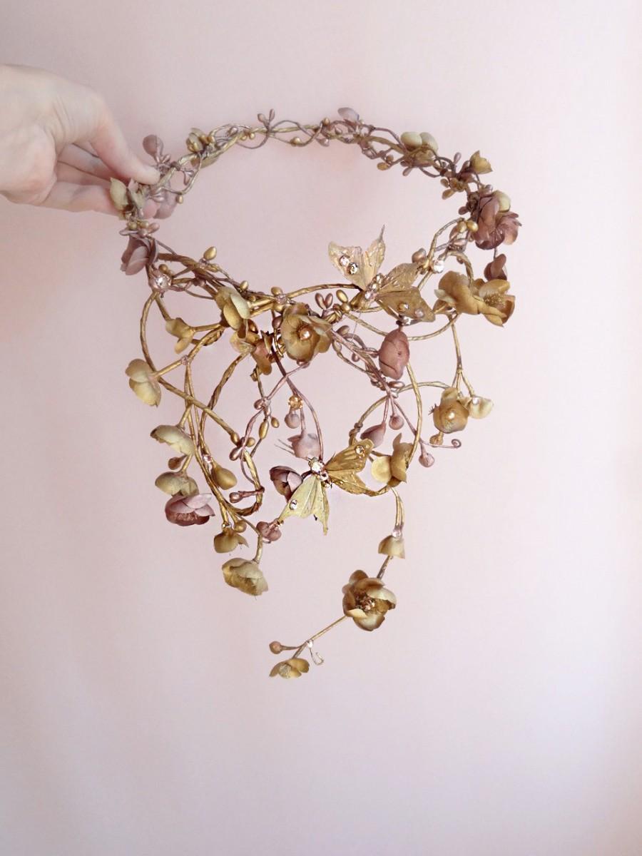 Mariage - gold vine headpiece, luxe Swarovski headpiece, gold flower crown, butterfly crown, bridal headpiece, bridal hair vine, fairytale hair piece