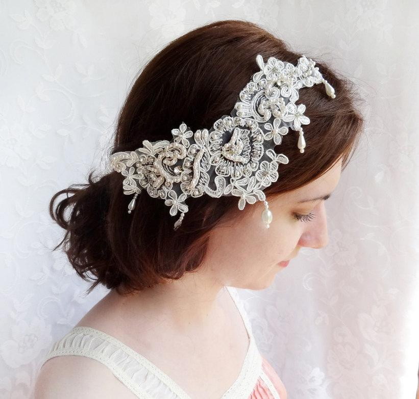 Mariage - lace hair comb, lace bridal headpiece, lace hair piece, vintage wedding headpiece, pearl hair piece, wedding hair accessories, wedding comb