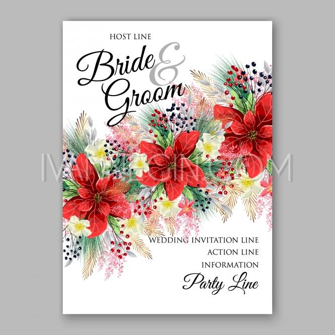 Boda - Poinsettia Wedding Invitation card beautiful winter floral ornament Christmas Party invite wreath - Unique vector illustrations, christmas cards, wedding invitations, images and photos by Ivan Negin