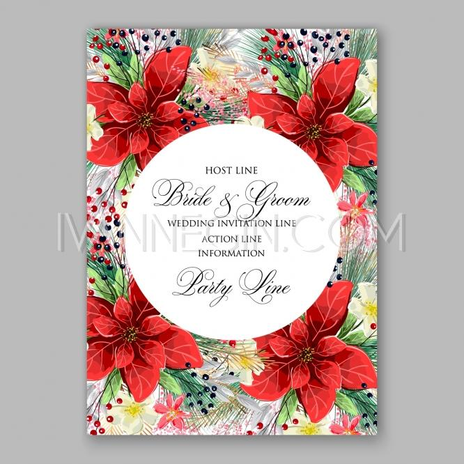 Poinsettia Wedding Invitation Card Beautiful Winter Floral – Unique Christmas Party Invitations