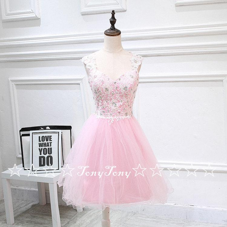 Wedding - Pink Tulle Ivory Lace Appliqued Homecoming Dresses,Open Back Sweet 16 Dresses,Short Prom Dresses