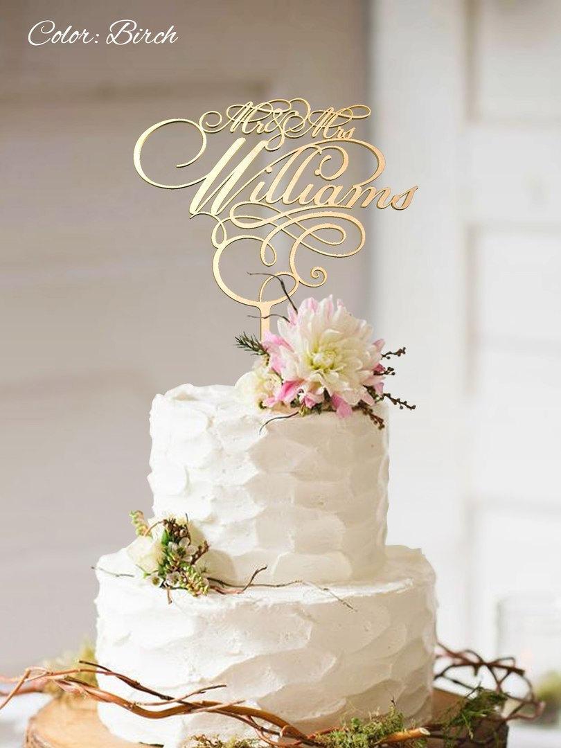 Mariage - Wedding Cake Topper. FN27. Custom Surname Cake Topper. Personalized Wedding Cake Topper. Gold Cake Topper. Wood Wedding Cake Topper.