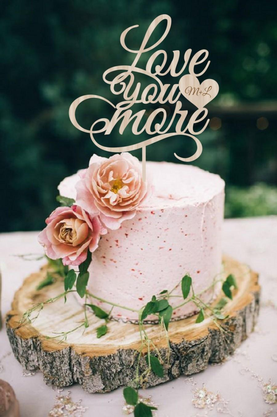 Mariage - Wedding Cake Topper  Love you more Cake Topper Wood Wedding Cake Topper Silver Gold Cake Topper