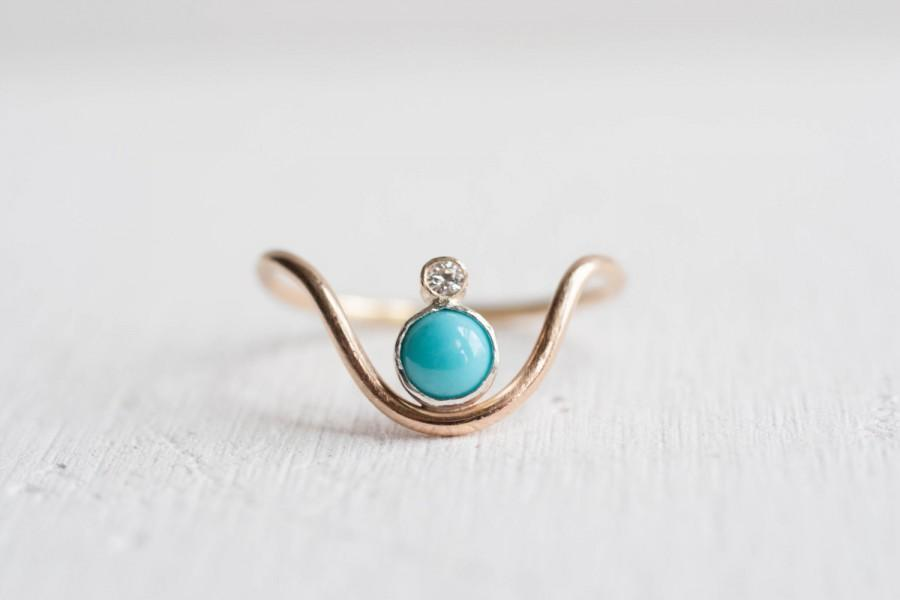 Wedding - Turquoise + Moissanite Curve Ring