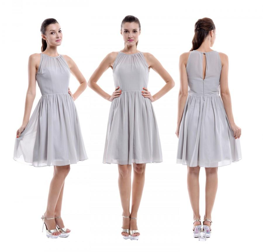 Wedding - Grey Short Bridesmaid Dress, Halter Chiffon Bridesmaid Dress, Cheap Bridesmaid Dress
