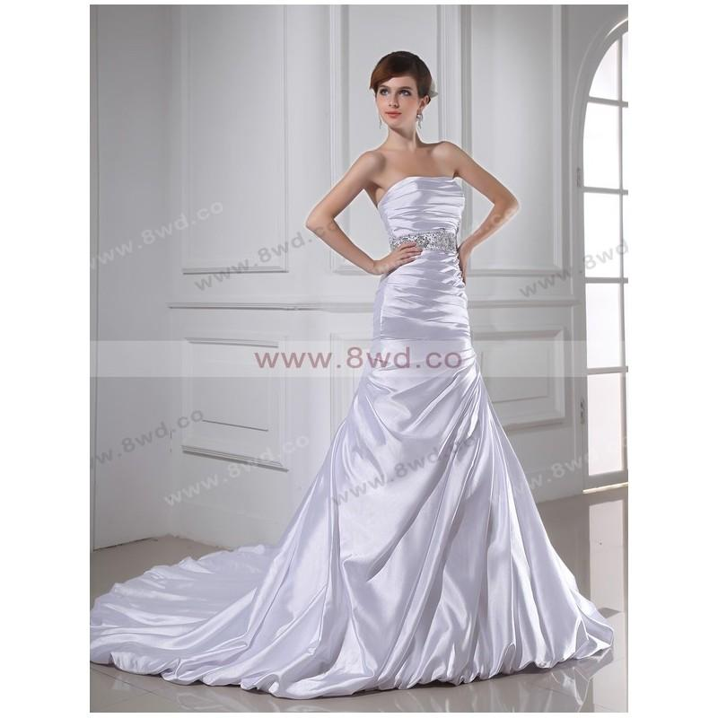 Wedding - Trumpet/Mermaid Strapless Sleeveless Taffeta Silver Wedding Dress With Ruffles BUKZA2011 In Canada Wedding Dress Prices - dressosity.com