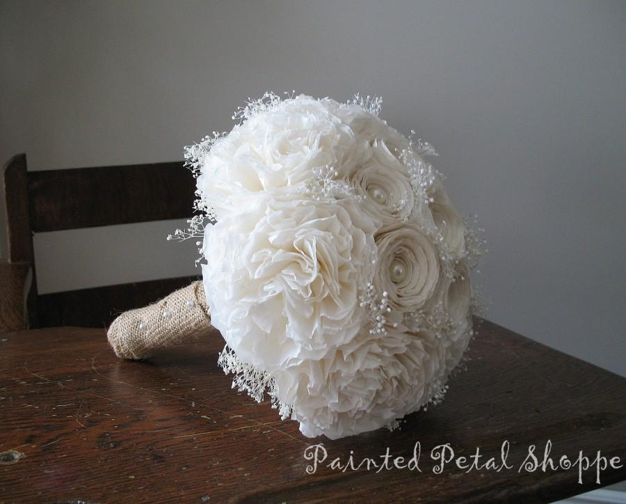 Ivory Coffee Filter Bouquet Bridal Rustic Wedding