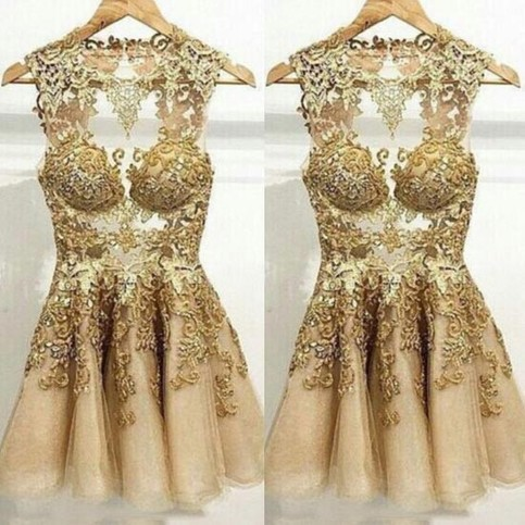 Wedding - Sexy Short Tulle Prom Dress With Gold Swirls from Dressywomen