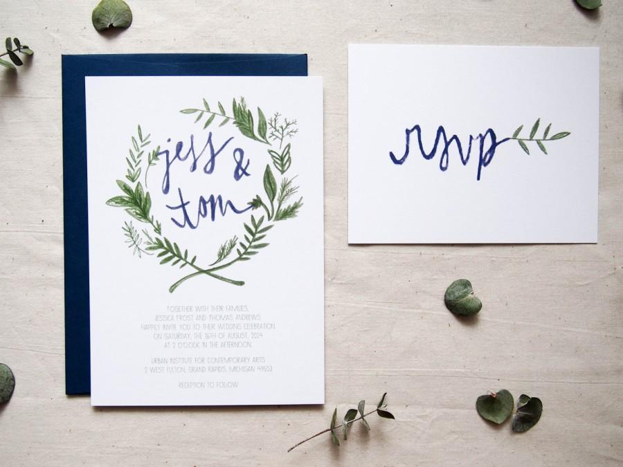 SAMPLE Floral Wreath Bohemian Wedding Invitation // THE OLIVE ...