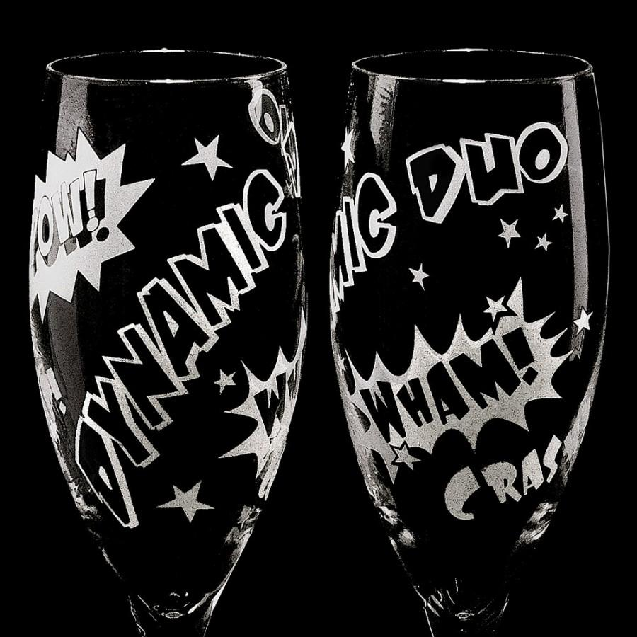 Hochzeit - 2 Super Hero Wedding Champagne Glasses, Personalized Toasting Flutes for Geek Wedding Gift for Couple