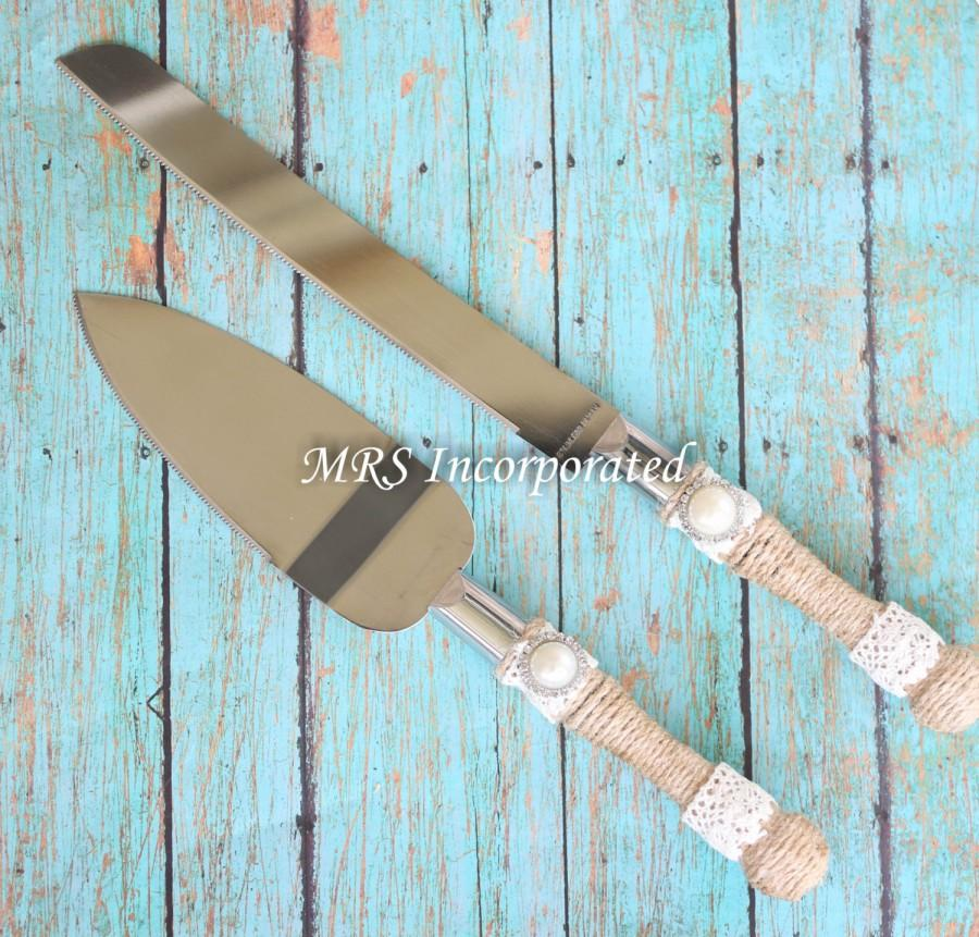 Mariage - Ships 11/7/16!!! SALE!!!!!!Rustic Cake Knife and server set, Burlap theme cake cutter, Rustic Theme Wedding