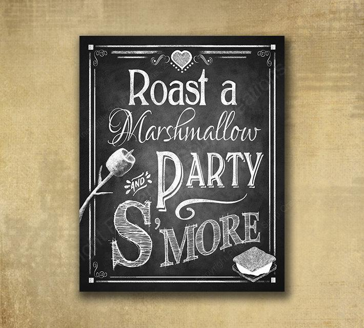 Mariage - Printed S'more Love Wedding sign - Roast a Marshmallow and Party S'more - Chalkboard style - with optional add ons - Rustic Heart Collection