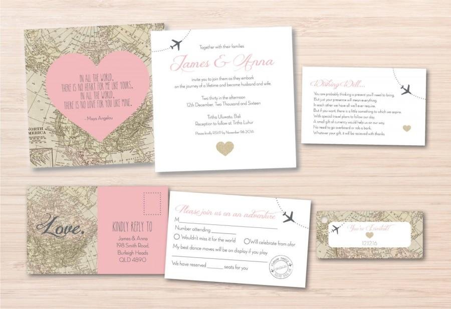 Map Wedding Invitation Destination Suite Vintage World Rsvp Cards