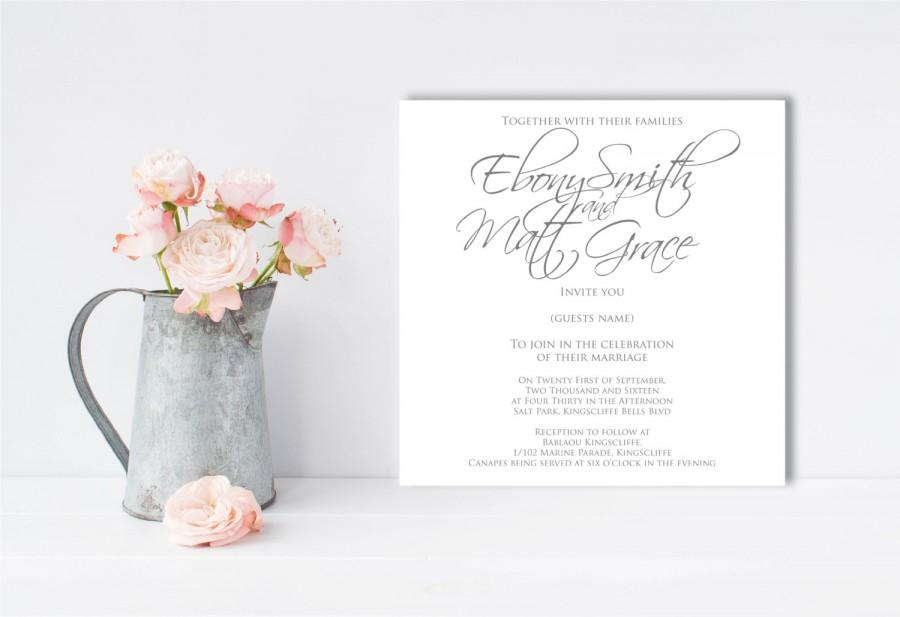 Mariage - Grey and White, Wedding Invitation, Scripted Font, Simple Wedding, Simple Invitation, Modern Wedding, Grey Wedding, Printable Invitation