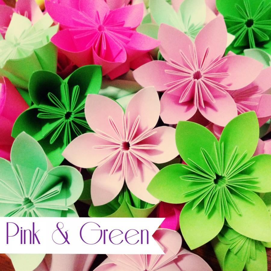 Mariage - Green and Pink Theme - Colorful Origami Folding Flowers - 20 pcs