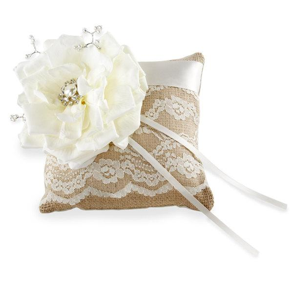 Свадьба - Burlap Ring Bearer Pillow with Ivory Lace, Rose, Pearls and Crystals